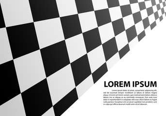 Checkered perspective on white blank space text place design sport race championship background vector illustration