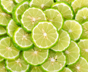 Sliced bergamot on the white background