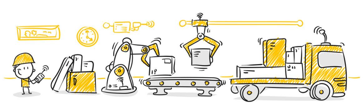 Strichfiguren / Strichmännchen: Industrie 4.0, Automation, Logistik. (Nr. 69)