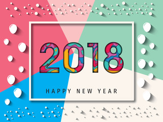 Happy New Year 2018 paper cut  Background, Carte de voeux - New year greeting card, New year background. 2018 Happy New Year Background for your Seasonal Flyers, brochure, and Greetings Card.