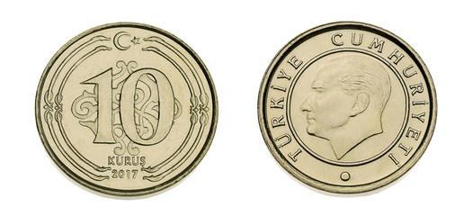 both sides of turkish coin currency ten kurus made of 3 15 gram nickel and