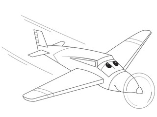 cartoon coloring plane with faces. Live transport.