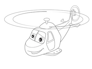 cartoon coloring helicopter with faces. Live transport.