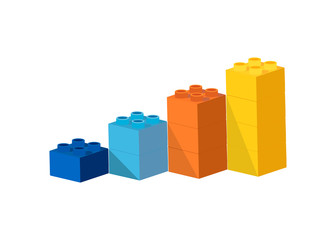 Growing bar chart from color toy blocks on blue background.