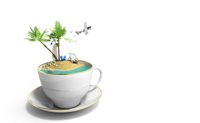 Island in a cup of coffee Concept of travel 3d render on white