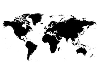 Map of World black vector silhouette. High detailed map on white background.