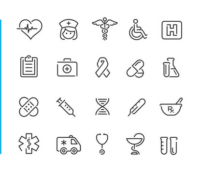 Medical Icon Set // Blue Line Series