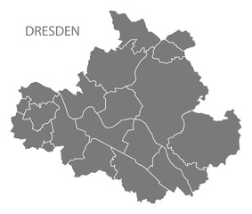 Dresden city map with boroughs grey illustration silhouette shape