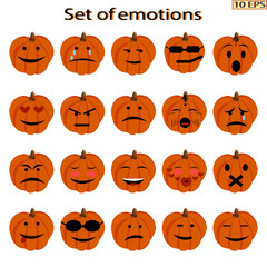 Set of emoticon pumpkins. Mood. Icons cartoon pumpkins with different emotions. Smiley icons for web design. Icons with different characteristic facial expressions. Vector illustration.