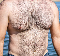 Hairy torso of a man on the beach