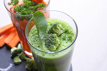 Fresh vegetable juices in glasses, closeup