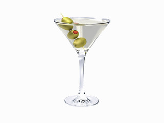 Drink martini. Martini with olives isolated on white. Martini Cocktail on white background.