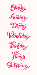Hand lettering Days of Week. Modern calligraphy.