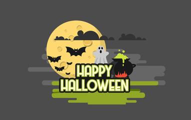 Flat Style Vector Illustration of Happy Halloween Background.