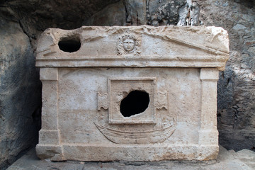 An old sarcophagus in Olympos ancient city, Kumluca, Antalya