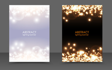 Wall Mural - Abstract sparkling Christmas lights magic background set. Vector light and dark glow bright festive poster. White sparks modern New year design. Xmas Concept. Flicker magic effect