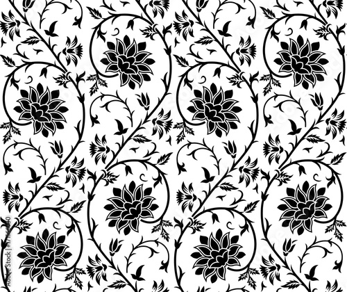 Seamless Black And White Floral And Paisley Pattern Stock Image And