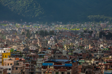 Landscape of Kathmandu city in front of Himalayas