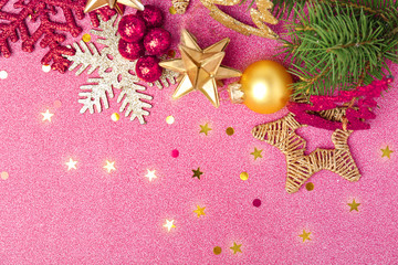 Beautiful composition with Christmas decorations on colorful background