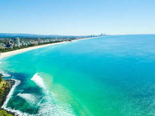 An aerial view of Burleigh Heads on the Gold Coast  a clear day with blue water