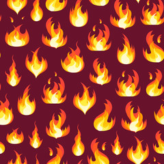 Cartoon Fire Flames Background Pattern. Vector