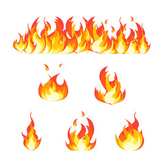 Cartoon Fire Flames Set and Line. Vector