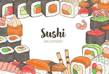 Horizontal template with colorful frame consisted of various types of Japanese sushi and rolls on white background. Hand drawn vector illustration for menu or banner of Asian food restaurant.