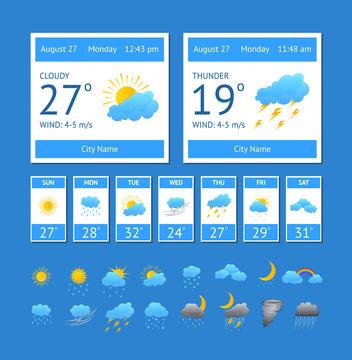 Cartoon Weather Color Element Set. Vector