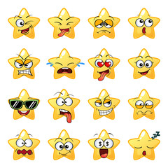 Cartoon star face. Emoji. Character. Cute emoticons