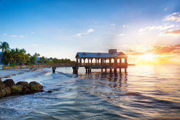 Fototapete - Pier at the beach on sunrise in Key West, Florida USA