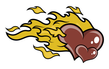 Hearts with Fire Vector tattoo