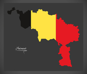 Hainaut map of Belgium with Belgian national flag illustration