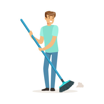 Young smiling man sweeping the floor, house husband working at home vector Illustration