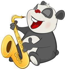 Illustration of a Cute Panda Saxophonist.. Cartoon Character