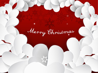 Christmas background with snow flakes, leafs and Merry Christmas text.