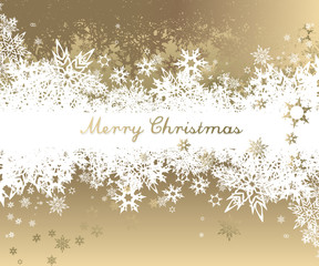 Christmas background with golden - white snowflakes and Merry Christmas text - golden version