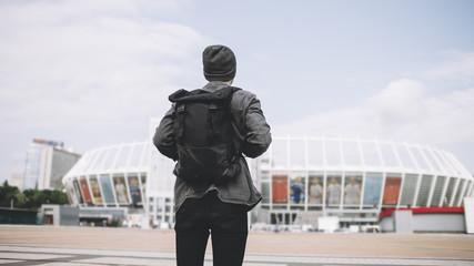 Attractive tourist in city