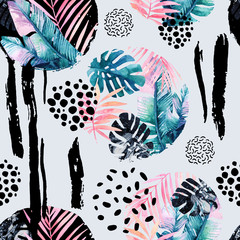 Poster de jardin Empreintes Graphiques Abstract natural seamless pattern inspired by memphis style. Circles filled with tropical leaves, doodle, grunge texture, rough brush strokes. Hand painted watercolour illustration