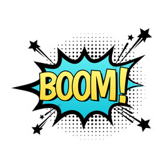 "BOOM vector speech bubble. Cartoon comic explosion with text ""boom"". Illustration isolated on white background."