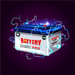 Car battery with electric sparks lighting effect. power energy concept - vector