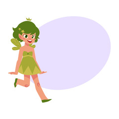 Vector fairy girl illustration on white background. Cute cartoon smiling child with butterfly wings wearing queen crown with bubble speech. Magic, flying kid holding magic star wand.