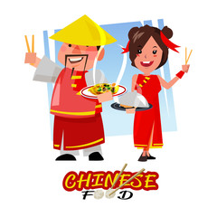 Chinese man and women in traditional costume holding dish of chinese food. character design - vector