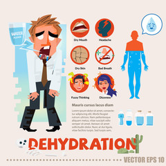 dehydrated thirsty character with infographic. typographic and logotype - vector