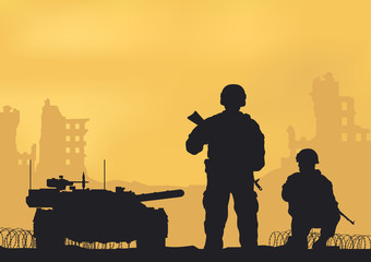Illustration, tank, ruined city and soldiers.