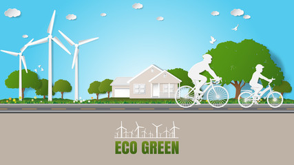 Paper folding art origami style vector illustration. Renewable energy ecology technology power saving environmentally friendly concepts. Father, son are riding bicycle on road in front of house parks.
