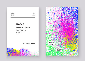 Neon colorful explosion paint splatter artistic covers design. Decorative bright texture splash spray on white backgrounds. Trendy template vector for Cover Report Catalog Brochure Flyer Poster Banner