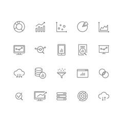 Set of 20 data analysis thin line icons.