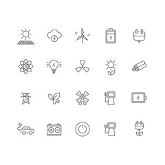 Set of 20 energy industry thin line icons.