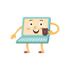 vector flat cartoon funny laptop humanized character with arms, legs and face holding cup of coffee in hand smiling. Isolated illustration on a white background.
