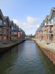 Canal in residential district